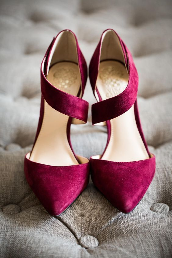 stylish and bold burgundy shoes with straps are a very elegant and timeless option for a flal or winter bride
