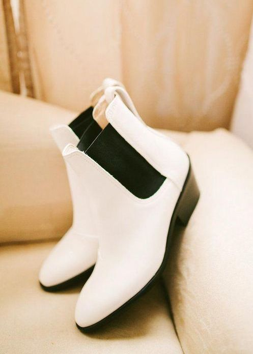 super elegant white Chelsea boots will make you feel comfortable and they look wedding-appropriate