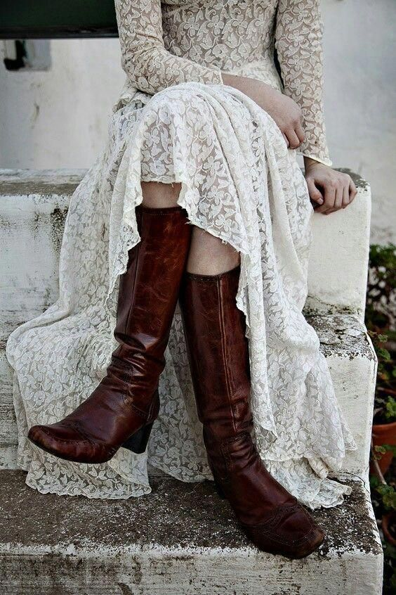 tall brown leather boots will be nice for a cold day winter wedding and they will add a rustic feel to the look