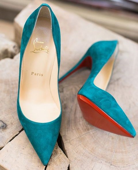 teal suede wedding heels will add a colorful touch and a texture to your look