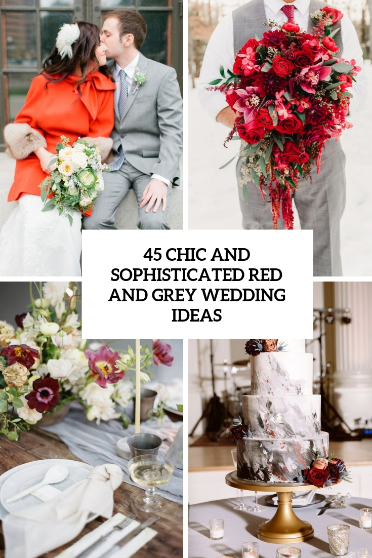 chic and sophisticated red and grey wedding ideas cover