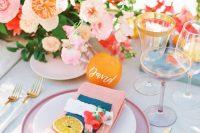 a bright summer wedding table decor