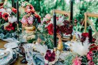 a stylish garden wedding tablescape