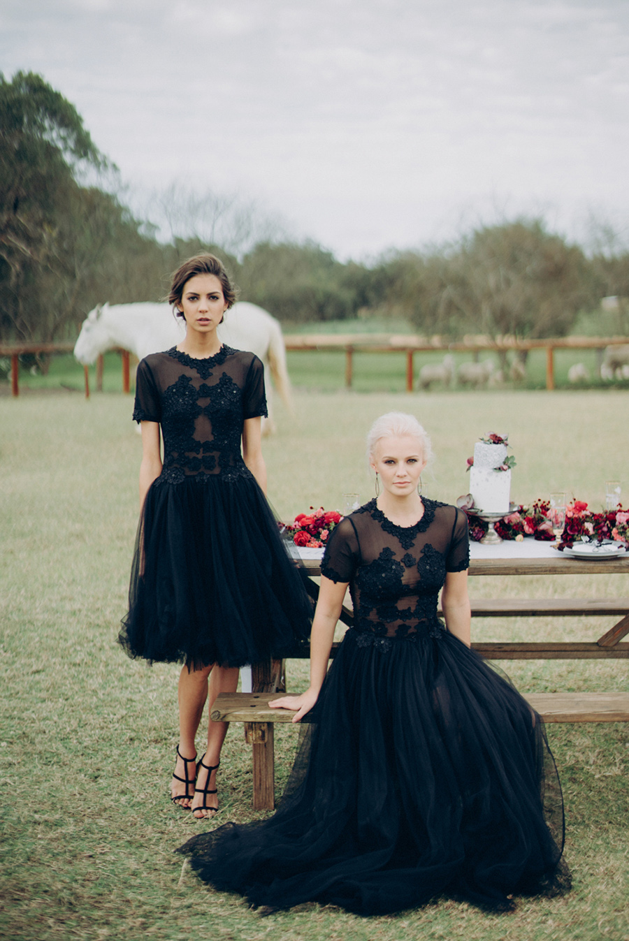 two brides wearing matching chic and sparkling black wedding dresses of different lengths