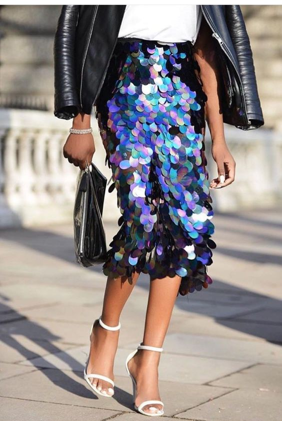 a fantastic colorful scale sequin midi A-line skirt is a very bold and chic statement to rock right now