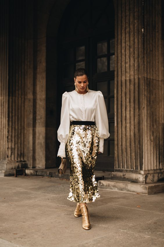 a gold A-line square sequin midi skirt is a bold and chic idea to wear with anything you want