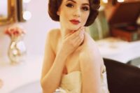 a gorgeous pin curl hairstyle with a volume on top is a lovely option to rock