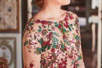 a stylish floral nude wedding dress