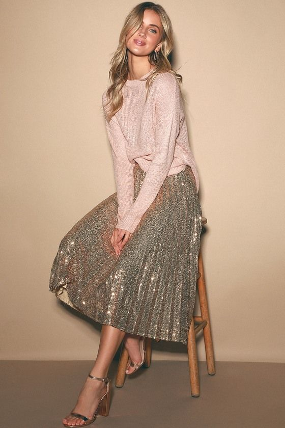 a rose gold sequin pleated A-line midi is a very festive and comfortable to wear piece