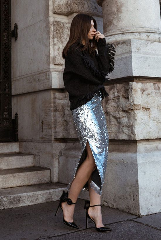 a silver midi skirt with a side slit is an elegant and stylish piece to rock, it's timeless and comfy