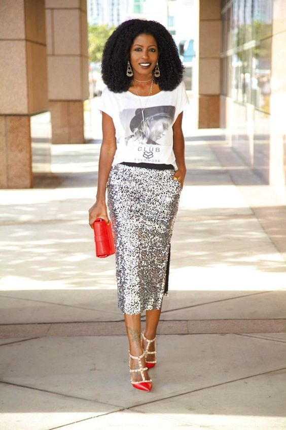 a silver sequin midi pencil skirt with a side slit and pockets is a gorgeous solution for any party