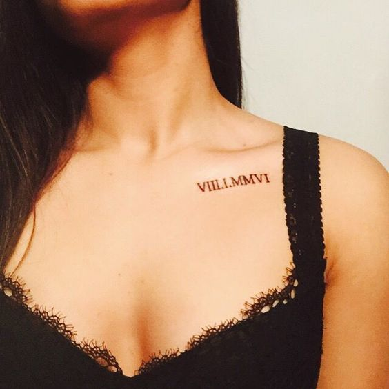 a wedding date tattoo placed under the collarbone is a creative idea