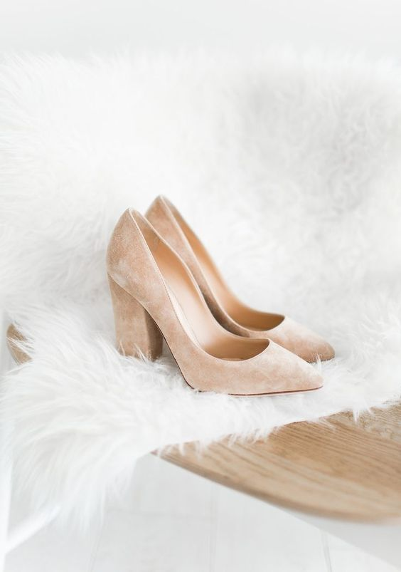 blush suede wedding shoes with block heels are a comfortable and stylish option that can be worn afterwards