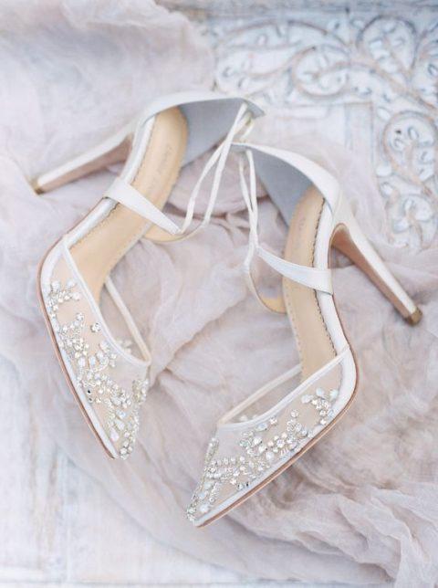 embellished semi sheer wedding shoes are heavenly beautiful and very glam and very chic
