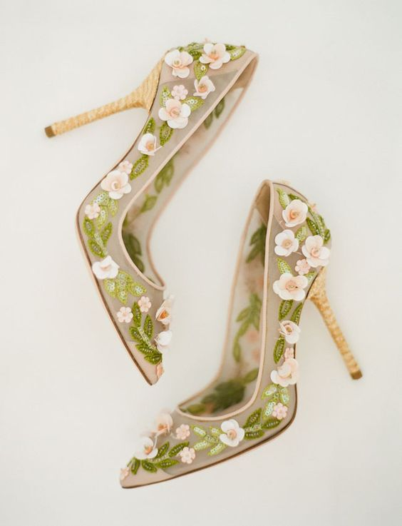 gorgeous half sheer wedding heels with pink flower appliques and green embroidery and bead leaves