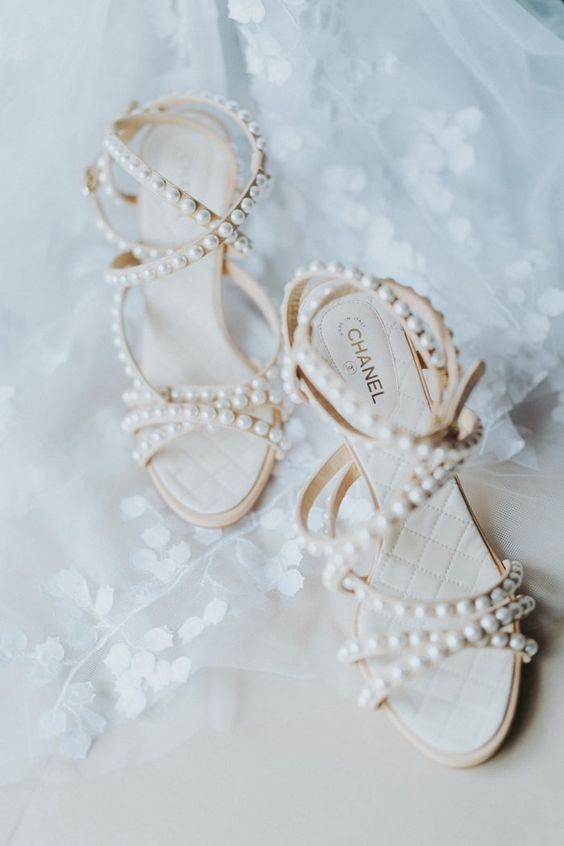 gorgeous nude strappy wedding shoes completely covered with pearls are ultimate girlish chic