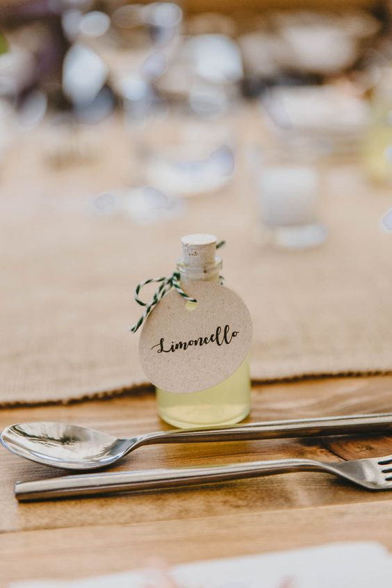 mini Limoncello bottles are amazing and refreshing wedding favors for Tuscany-inspired spring weddings