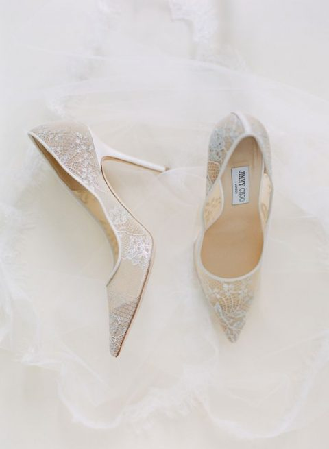 nude and white lace wedding shoes by Jimmy Choo are refined classics for a chic bridal look