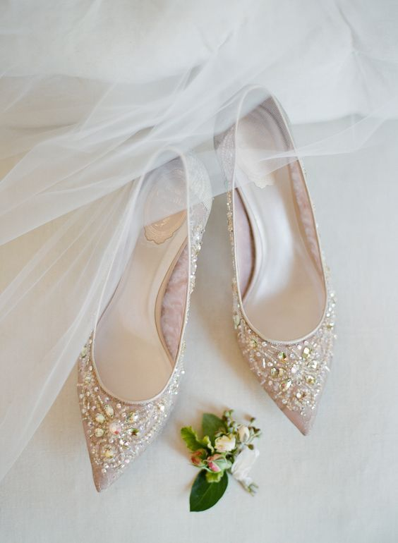 nude wedding shoes with heavy embellishments are super shiny and super bold and will add glam to your look