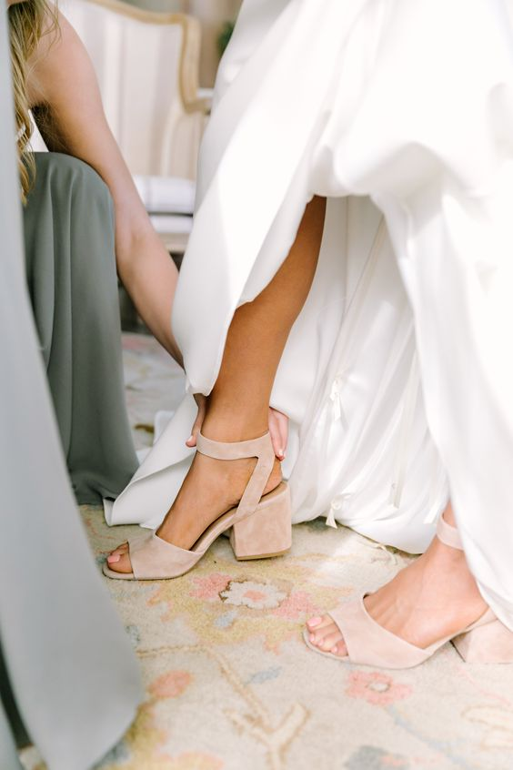 nude wedding shoes with large block heels and ankle straps are a great idea with much comfort