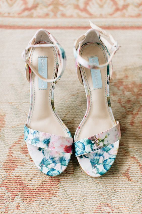 romantic floral bridal shoes with ankle straps are perfect for a spring or summer wedding