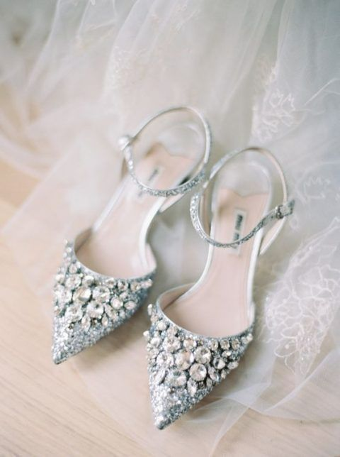 super shiny silver heavily embellished wedding shoes with ankle straps are a super glam idea