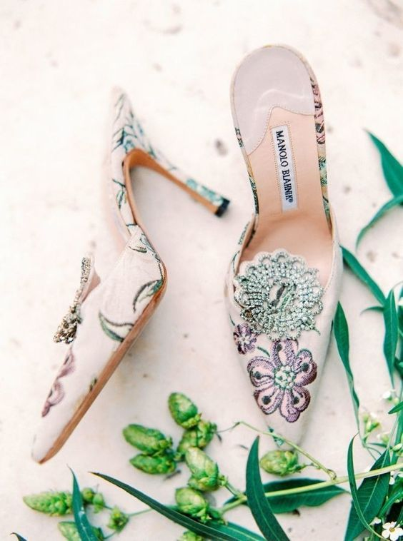 white wedding shoes with colorful floral embroidery and embellishments are just heaven