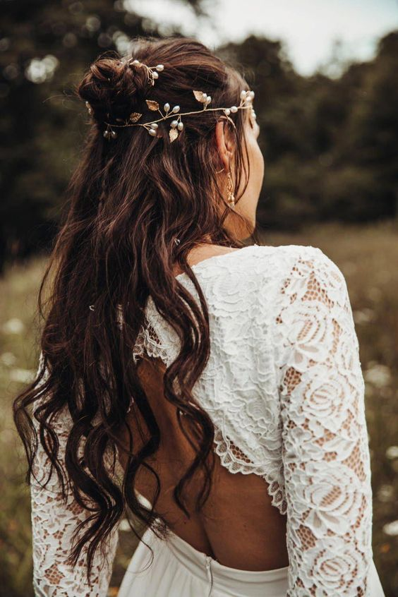 a botanical headpiece with pearls as berries and fabric leaves for a woodland boho bride