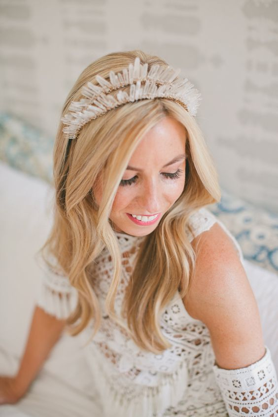 a copper double crystal bridal headpiece is ideal for a fashion-forward bride