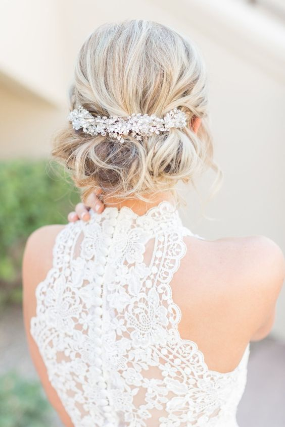a lace racer back on buttons is always a good idea for a bride who wants something classic yet fresh and chic