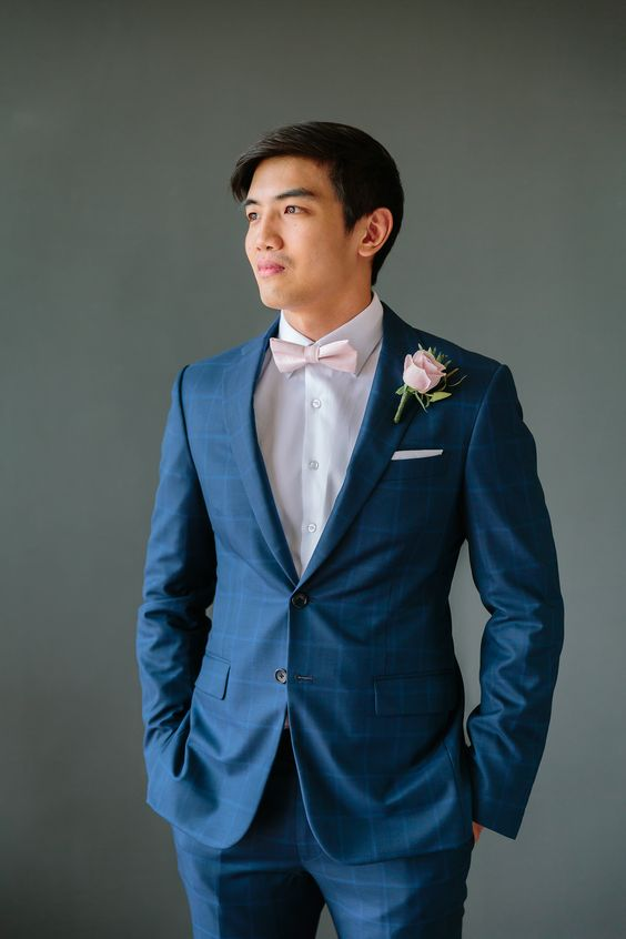 a navy plaid suit for a groom