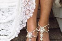 boho heavily embellished barefoot beach wedding sandals look chic and bold
