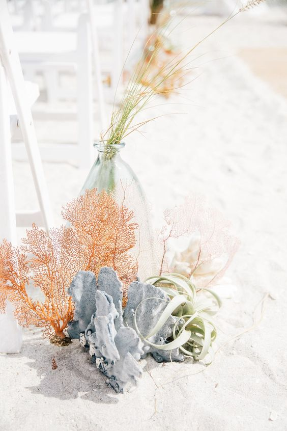 corals, air plants, herbs for lining up a beach wedding aisle