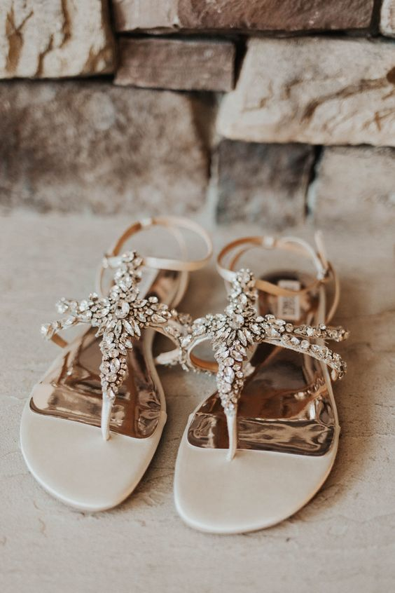 creamy strappy heavily embellished wedding sandals for a boho beach bride and to wear them after