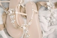 embellished crystal wedding sandals with metallic straps look chic, bright and shiny
