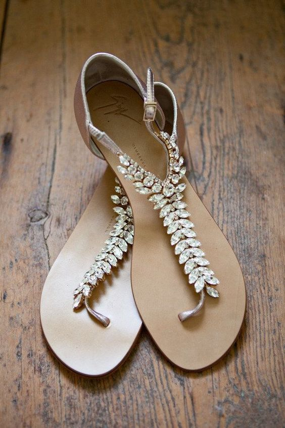 embellished fishtail flat sandals are amazing to finish off your beach bridal look