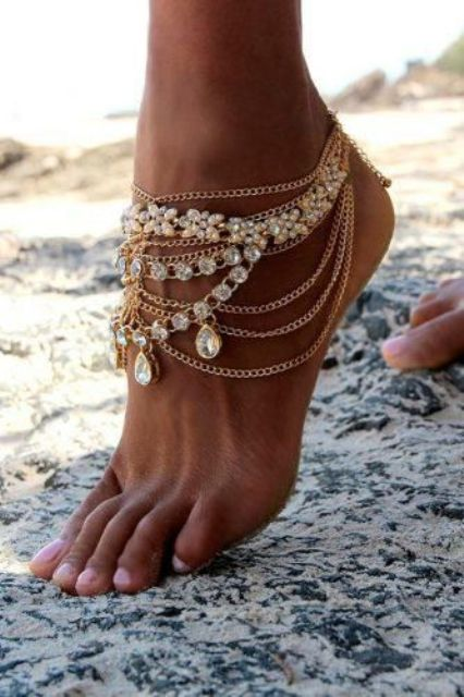 gold chain rhinestone barefoot wedding sandals are perfect for a beach boho or gypsy bride