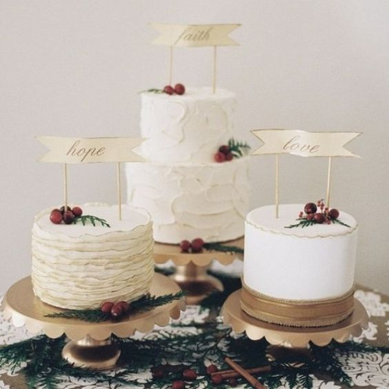 gold scallop edge wedding cake stands, nuts and cinnamon sticks make this wedding cake table elegant