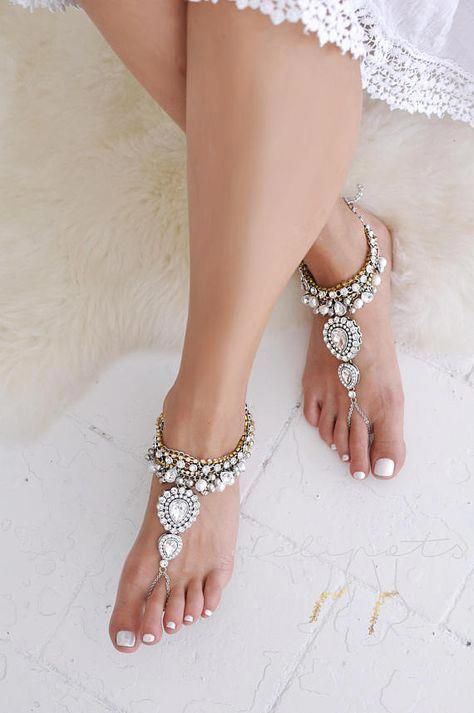 heavily embellished gold chain and crystals barefoot wedding sandals for a boho or gypsy beach bride