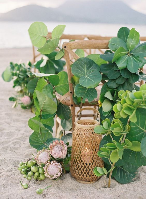 lush beach wedding decor with lots of greenery, king proteas and fruits, candle lanterns is non typical and chic