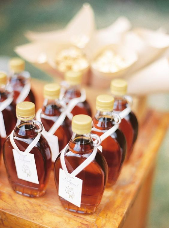 mini syrup bottles are great summer favors for a brunch wedding