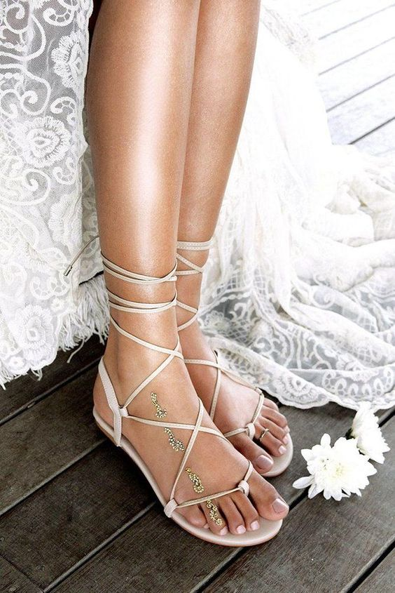 nude lac eup flat wedding sandals can be worn not only to the wedding but also after it, too