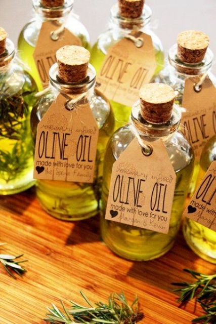 olive oil in bottles with tags is a great summer wedding favor for an Italian wedding