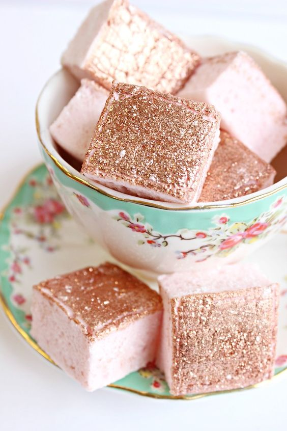 rose marshmallows are perfect summer wedding favors, they are glam, cool and delicious