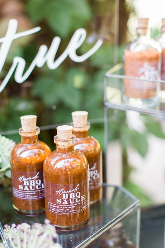 your homemade BBQ sauce in bottles is a perfect favor idea for a BBQ or rustic wedding