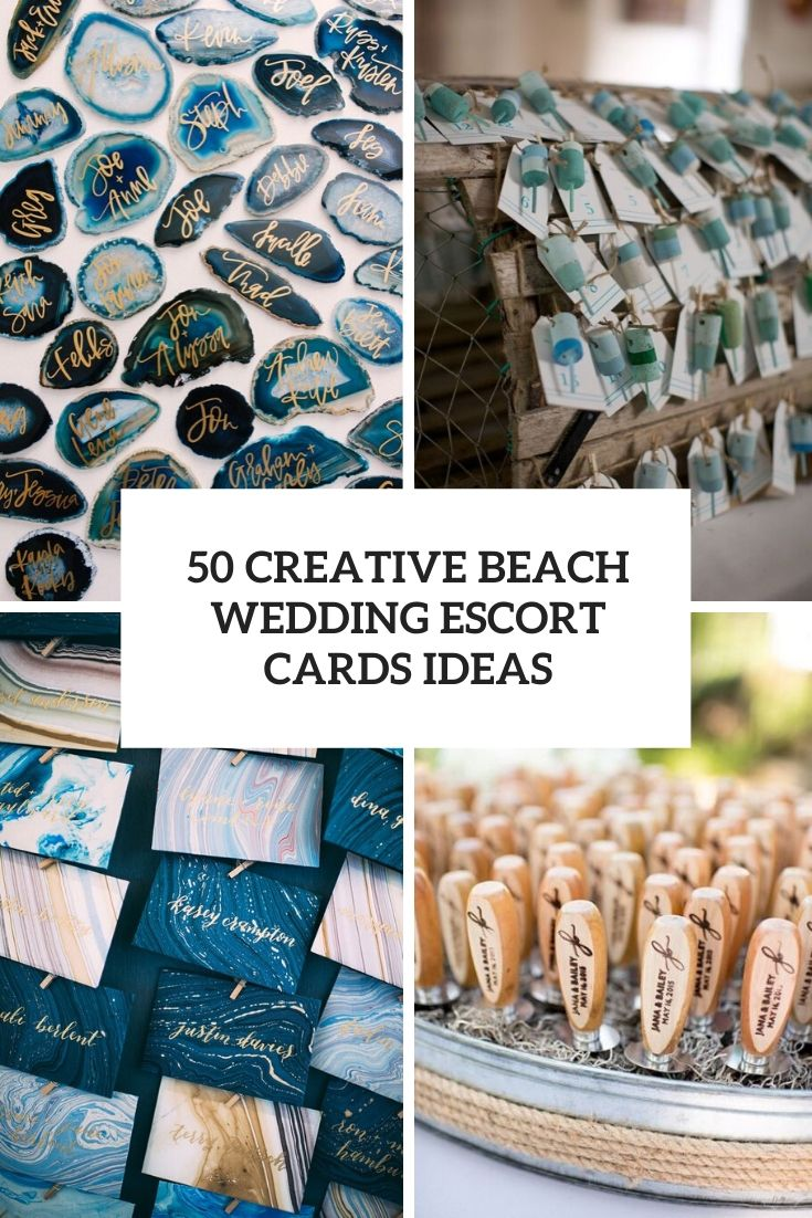 creative beach wedding escort cards ideas cover