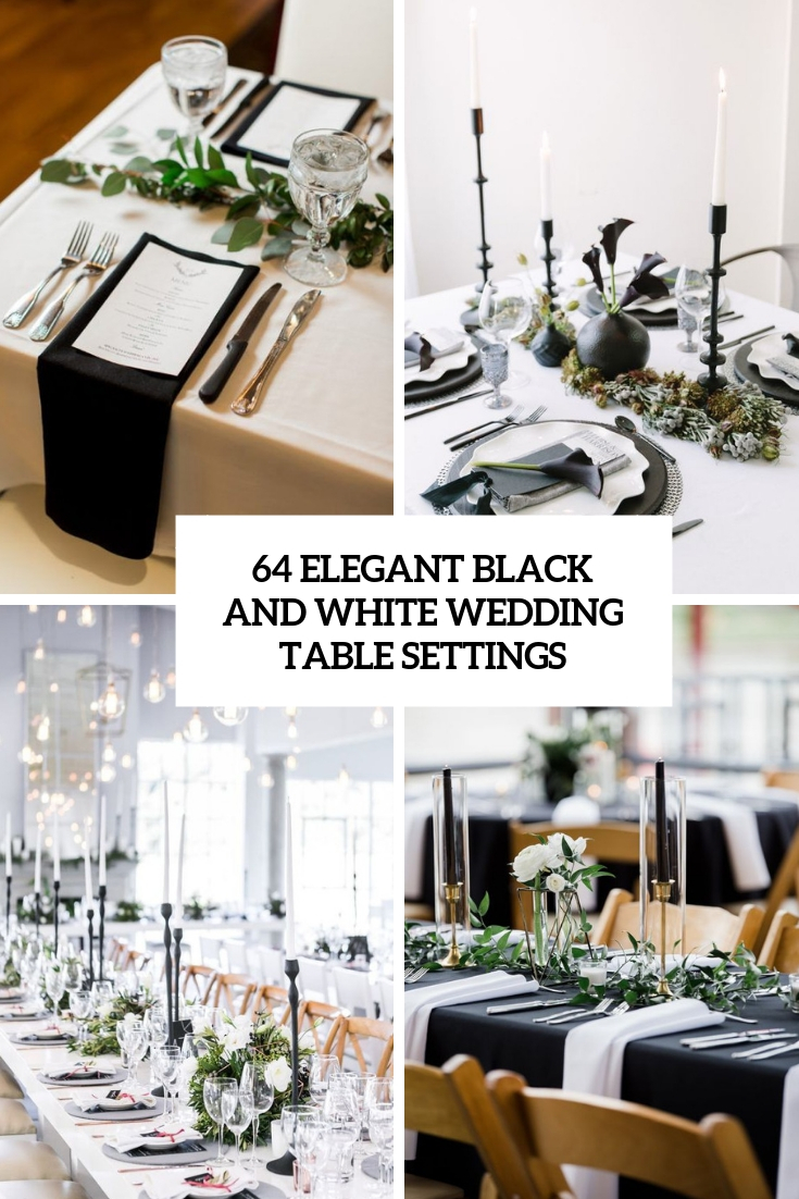 elegant black and white wedding table settings cover