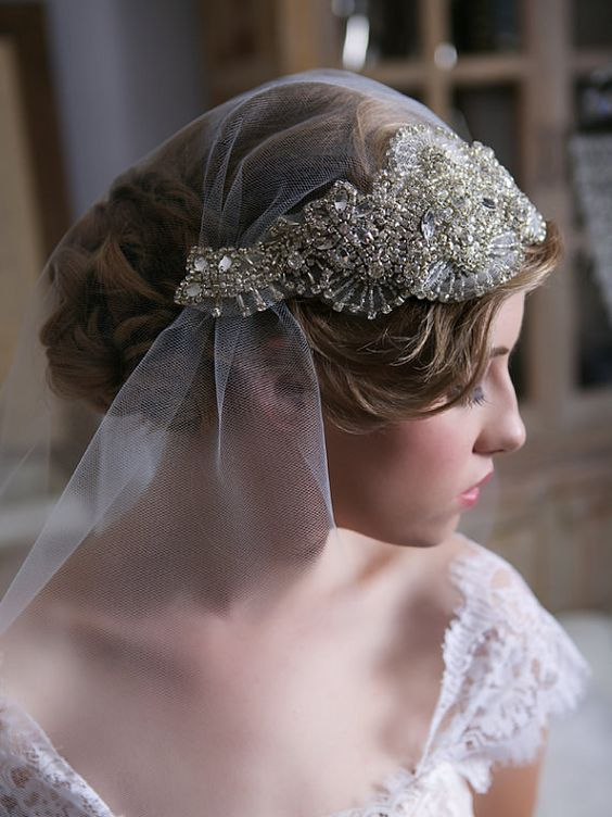 a heavily embellished Juliet cap veil in gold is a beautiful and chic idea for a romantic vintage or art deco bride