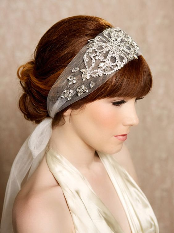 a lovely embellished headband is a statement accessory for an art deco bridal look