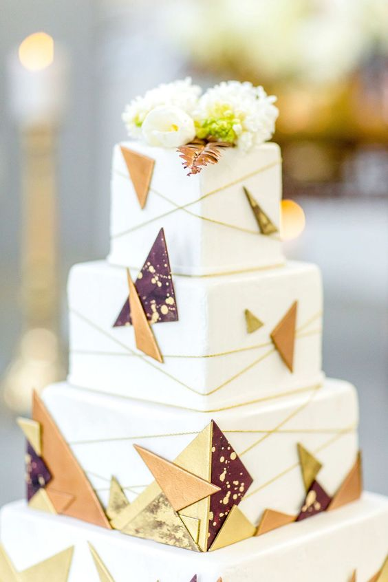 a simple but stylish square wedding cake